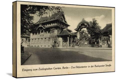 Berlin Tiergarten, Zoologischer Garten, Elefantentor in Der Budapesterstraße--Stretched Canvas Print
