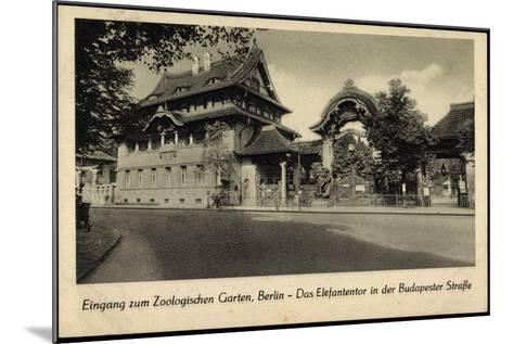 Berlin Tiergarten, Zoologischer Garten, Elefantentor in Der Budapesterstraße--Mounted Giclee Print