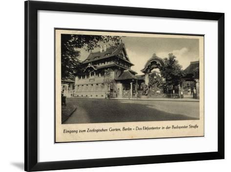 Berlin Tiergarten, Zoologischer Garten, Elefantentor in Der Budapesterstraße--Framed Art Print