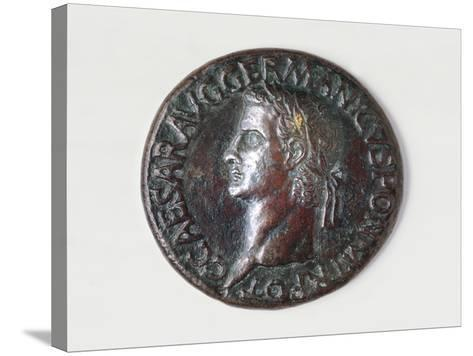 Sestertius of Caligula Bearing Image of Emperor, Recto, Roman Coins AD--Stretched Canvas Print