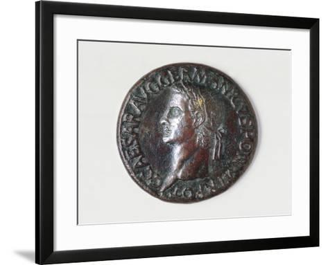 Sestertius of Caligula Bearing Image of Emperor, Recto, Roman Coins AD--Framed Art Print