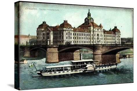 Dresden, Neues Ministerium, Dampfer Albert--Stretched Canvas Print