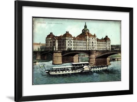 Dresden, Neues Ministerium, Dampfer Albert--Framed Art Print