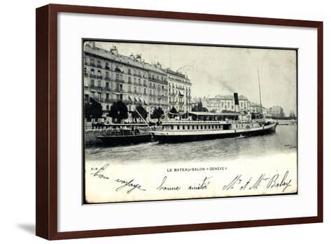 Lac Leman, Dampfer Genève, Bateau Salon, Stadt--Framed Art Print