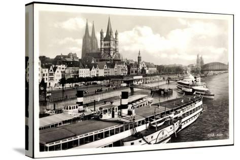 Dampfer Schiller Auf Dem Rhein, Köln, Kirche--Stretched Canvas Print
