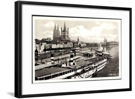 Dampfer Schiller Auf Dem Rhein, Köln, Kirche--Framed Art Print
