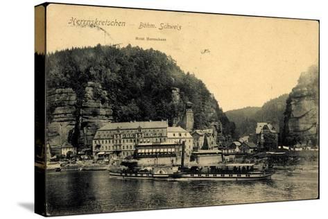 Herrnskretschen Ùstecký Kraj, Dampfer Koenigin Carola--Stretched Canvas Print