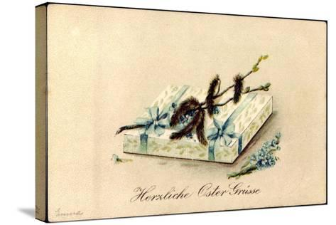 Präge Litho Glückwunsch Ostern, Geschenk, Kätzchen--Stretched Canvas Print