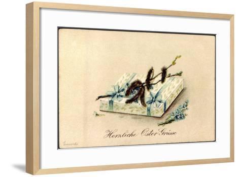 Präge Litho Glückwunsch Ostern, Geschenk, Kätzchen--Framed Art Print