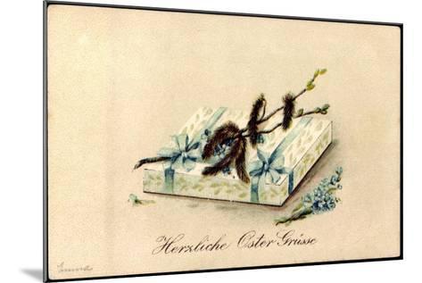 Präge Litho Glückwunsch Ostern, Geschenk, Kätzchen--Mounted Giclee Print
