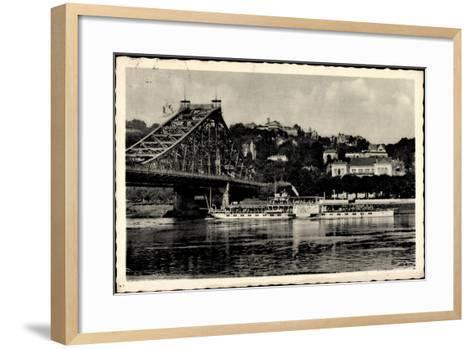 Dresden Loschwitz, Dampfer Stadt Wehlen A. D. Elbe--Framed Art Print