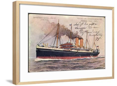Künstler Russisches Dampfschiff Rossia in Fahrt--Framed Art Print