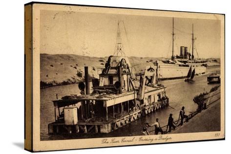 Suez Ägypten, Suez Kanal, Dredger, Dampfschiff--Stretched Canvas Print