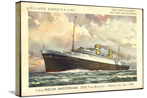 Künstler Hapag, T.S.S. Nieuw Amsterdam, Dampfer--Stretched Canvas Print
