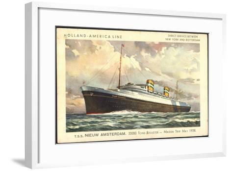 Künstler Hapag, T.S.S. Nieuw Amsterdam, Dampfer--Framed Art Print