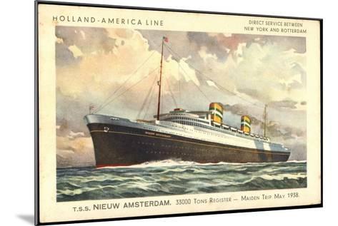 Künstler Hapag, T.S.S. Nieuw Amsterdam, Dampfer--Mounted Giclee Print