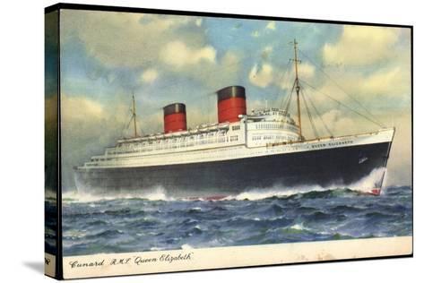 Cunard Line, R.M.S. Queen Elizabeth, Dampfschiff--Stretched Canvas Print