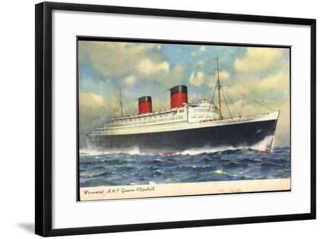 Cunard Line, R.M.S. Queen Elizabeth, Dampfschiff--Framed Art Print