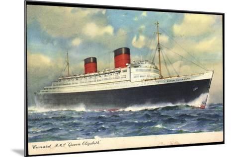 Cunard Line, R.M.S. Queen Elizabeth, Dampfschiff--Mounted Giclee Print