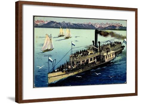 Starnberger See, Dampfer Starnberg, Segelboote, Berge--Framed Art Print