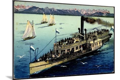 Starnberger See, Dampfer Starnberg, Segelboote, Berge--Mounted Giclee Print