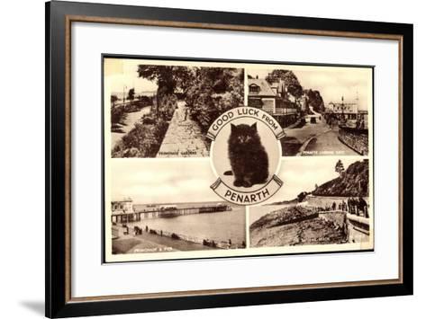 Penarth Wales, Promenade Gardens, the Bathing, Beach, Cat--Framed Art Print
