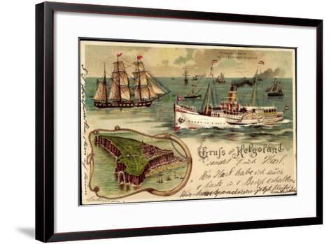 Litho Helgoland, Dampfer Prinz, Heinrich, Segelschiff--Framed Art Print