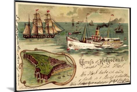 Litho Helgoland, Dampfer Prinz, Heinrich, Segelschiff--Mounted Giclee Print