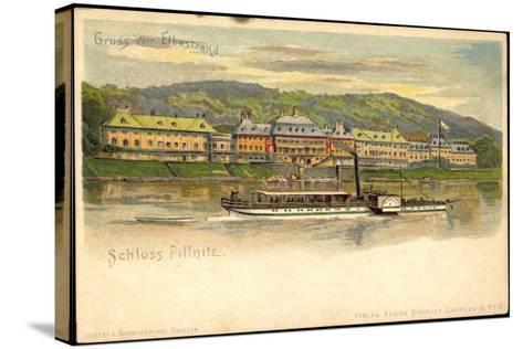 Litho Dresden Pillnitz, Salonraddampfer, Elbe, Schloss--Stretched Canvas Print