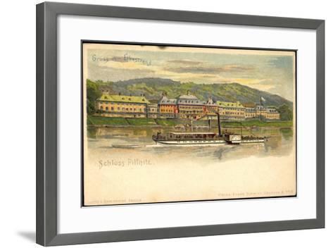 Litho Dresden Pillnitz, Salonraddampfer, Elbe, Schloss--Framed Art Print