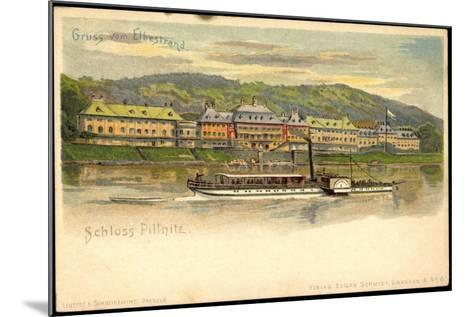 Litho Dresden Pillnitz, Salonraddampfer, Elbe, Schloss--Mounted Giclee Print