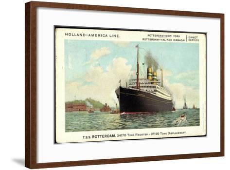 Hapag, T.S.S Rotterdam, Dampfschiff Am Hafen--Framed Art Print