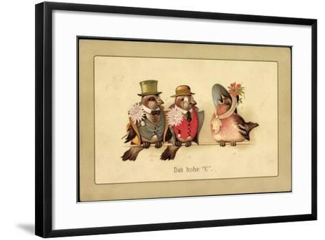 Künstler Litho Das Hohe C, Drei Vögel in Menschenkleidung, Gesang--Framed Art Print