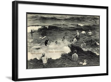 Seebad Heringsdorf, Badegäste Im Meer Bei Starkem Wellenschlag, Möwen--Framed Art Print