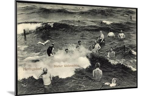 Seebad Heringsdorf, Badegäste Im Meer Bei Starkem Wellenschlag, Möwen--Mounted Giclee Print