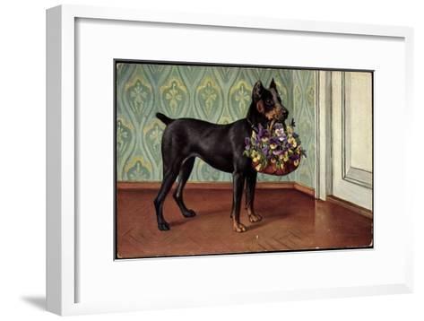 Dobermannwelpe Mit Blumenkorb Im Maul Vor Der T?r, Tapete Mit Verzierungen--Framed Art Print