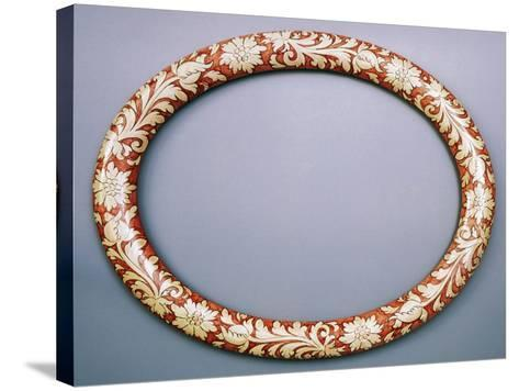 Oval Mirror Frame with Floral Decoration, Ceramic--Stretched Canvas Print