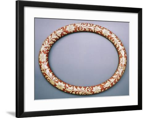 Oval Mirror Frame with Floral Decoration, Ceramic--Framed Art Print