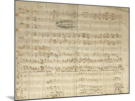 "Autograph Score for Patriotic Hymn ""Bell'Italia Ormai Ti Desta""--Mounted Giclee Print"