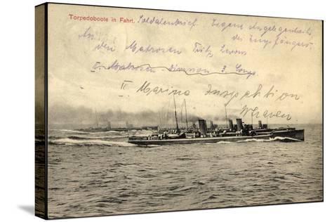 Deutsches Kriegsschiff in Fahrt Auf Hoher See--Stretched Canvas Print