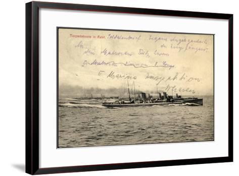 Deutsches Kriegsschiff in Fahrt Auf Hoher See--Framed Art Print
