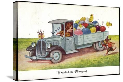 Künstler Ostereier, Küken, Hase, Lastkraftwagen--Stretched Canvas Print