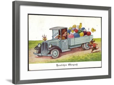 Künstler Ostereier, Küken, Hase, Lastkraftwagen--Framed Art Print