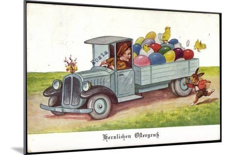 Künstler Ostereier, Küken, Hase, Lastkraftwagen--Mounted Giclee Print