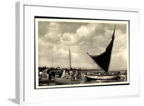 Seebad Ahlbeck, Strandpartie, Segelboot Berlin--Framed Art Print