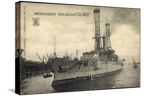 Kriegsschiff Illinois Im Hafen, Boote, Segelboot--Stretched Canvas Print