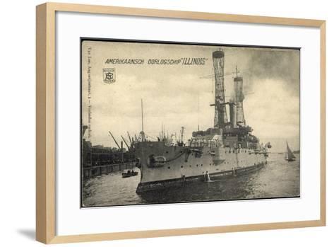 Kriegsschiff Illinois Im Hafen, Boote, Segelboot--Framed Art Print