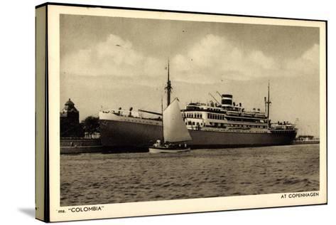 Kpm Line, Dampfer Colombia Am Hafen Von Kopenhagen--Stretched Canvas Print