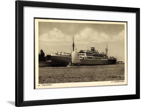 Kpm Line, Dampfer Colombia Am Hafen Von Kopenhagen--Framed Art Print