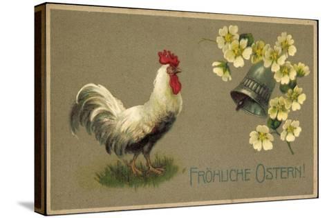 Präge Glückwunsch Ostern, Hahn, Glocke, Blüten--Stretched Canvas Print